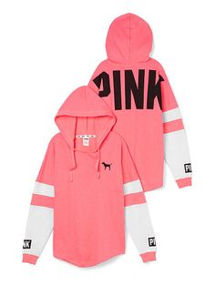 Varsity Hoodie victoriassecret.com size small in either coral, pink, or teal. wander