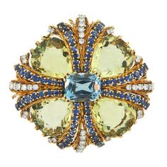 TIFFANY Gem Set Maltese Cross Brooch | From a unique collection of vintage brooches at http://www.1stdibs.com/jewelry/brooches/brooches/