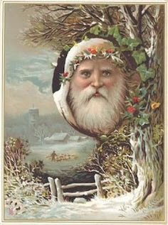 German Santa traditions for Christmas - Antique card