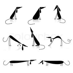 Vector of 'Funny black dogs silhouette, collection for your design'