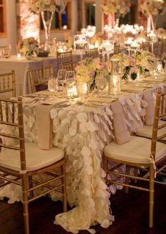 Mantel pétalos marfil blanco Blush rosa aliste por MagpieLinens