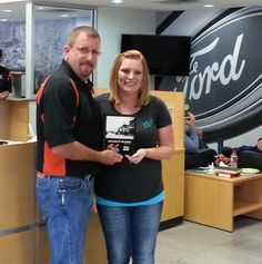 Traci Biner receiving her Employee of the Month award at Pruitt Ford in Burkburnett, Texas from Jeff Kindt General Manager. www.pruittford.com www.pruittford.net