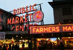 Pike Place Farmer's Market, in Seattle, Washington. Visited here with my friend Turner. She used to live there so she showed me around and we went to the farmer's market.  We had the best fish n chips, and watched the guy throw the fish and hit a can off some girl's head. We did karaoke, and the night life here was a fun time. I wanna go back and visit the rock museum.