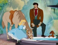 Cinderella with her father- I remember this was my fav part of the movie, seeing her as a kid!