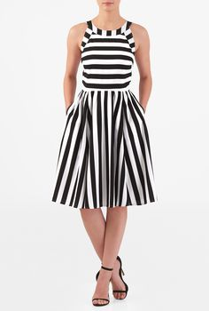 An artfully tailored bodice and ruched pleat chevron skirt style our feminine stripe print crepe dress cinched in at the seamed waist while a wide square cutout at the back adds a flirty element.