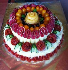 Sandwhich Cake, Sandwich Torte, Good Food, Yummy Food, Tasty, Meat Cake, Appetizer Buffet, Party Trays, Food Garnishes