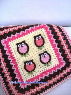 Owl crochet baby afghan