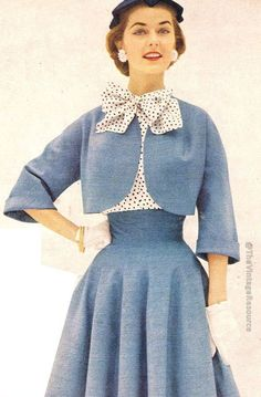1954 blue skirt suit with polka dot blouse - so chic