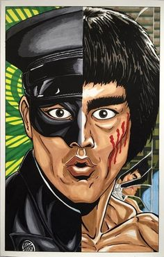 The greatest martial arts star of all time, the legendary Bruce Lee, is here in this piece as Kato from the Green Hornet, and in his final movie Enter The Dragon. All hail the master. Christopher Reeve, Cartoon Fist, Eminem, Bob Marley, Bruce Lee Pictures, Bruce Lee Art, Bruce Lee Family, Joker, Green Hornet