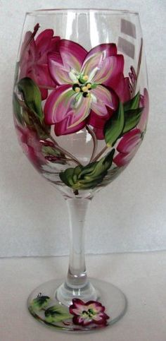 Hand Painted Magenta Dogwood Wine Goblet . $21.93. Beautifully Hand Painted Glassware by local DK Hand Painted Glassware