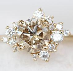 Diamond Cluster Ring, Diamond Jewelry, Diamond Cluster Engagement Ring, Cute Jewelry, Jewelry Accessories, Vintage Jewelry, Champagne Diamond, Champagne Color, Diamond Chart