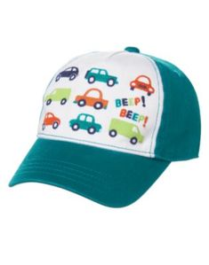 3a19566c401 He s behind the wheel and ahead in style in our colorful cars cap. (Gymboree