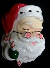 VINTAGE NAPCO CHRISTMAS CANDY CANE SANTA WALL POCKET VASE PLAQUE DECORATION