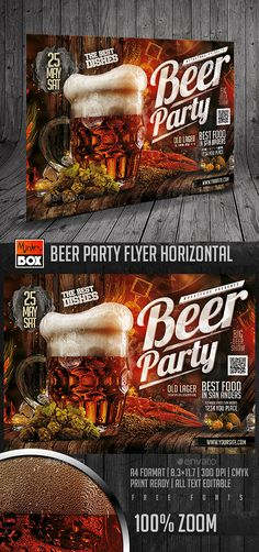Beer Party Flyer Horizontal — Photoshop PSD #fest #dj • Available here → https://graphicriver.net/item/beer-party-flyer-horizontal/15922126?ref=pxcr