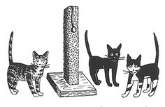 Tom, Edward, and Checkers - from the Cat Club books by Esther Averill