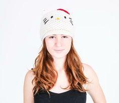 Hello Kitty Knit Cotton Beanie: White Try to make it.  Sale $14.50