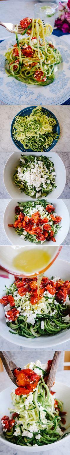 Lemon, Tomato and Feta Cucumber noodles. Easy vegetarian dinner recipe