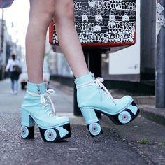 shoes blue platform shoes roller skates