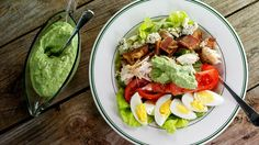 Rotisserie Chicken Cobb Salad with Avocado Ranch Dressing #Whatsfordinner