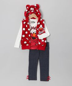 Take a look at this Red Polka Dot Elmo Furry Vest Set - Infant & Toddler by Sesame Street Girls on #zulily today!