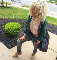 (50/50 & Cold) Girly Tomboy // Royal Green Varsity Jacket, Tan Crop Hoodie, Baggy Blue Jeans, & Brown Timbs