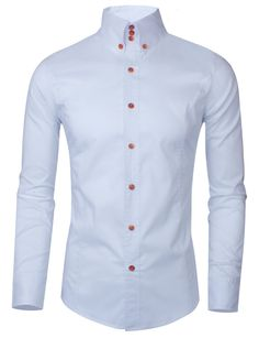 Tom's Ware Mens Casual Luxury Dress Shirts TWNMS313S-WHITE-M (US XS/S)