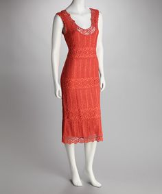 Take a look at this Orange Crocheted Scoop Neck Dress by Crochet Crush: Women's Dresses on #zulily today!