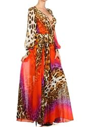 Orange Purple Animal Print Chiffon Like Maxi Dress - social butterfly