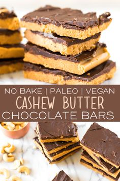 The Paleo Cashew Butter Chocolate Bars are the perfect no bake dessert! This rec… The Paleo Cashew Butter Chocolate Bars are the perfect no bake dessert! This recipe is easy, tasty and is made with only real wholesome ingredients Paleo Dessert, Paleo Sweets, Healthy Dessert Recipes, No Bake Desserts, Real Food Recipes, Cashew Recipes, Healthy Snacks, Chocolate Paleo, Chocolate Bars