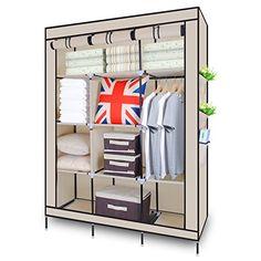 Triple Canvas Wardrobe with Clothes Rail Shelves Bedroom Storage Furniture – Prima Furniture