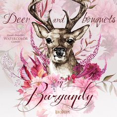 Watercolor Deer in Burgundy Flowers, Antlers, Stag horns, Boho, Rustic, Bohemian Wedding, Tribe, Wild, Hand painted Clipart, Invitation png