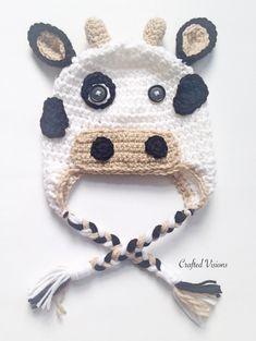 17 Ideas sewing baby hat pattern double crochet for 2019 Crochet Cow, Crochet Kids Hats, Crochet Baby Clothes, Crochet Hooks, Baby Hat Knitting Pattern, Hat Patterns To Sew, Crochet Patterns, Knitting Patterns, Cow Hat