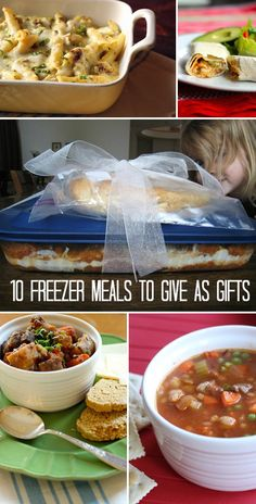 10 Freezer Meals You Can Gift *Ummm, I'm saving this list of meals for ME. Ha. YUM.