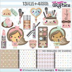 Makeup Clipart Makeup Graphics COMMERCIAL USE by TheHappyGraphics