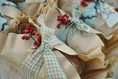 decorate your breads with brown coffee filters and stripes of fabric. Add a sprig of berries or pine.