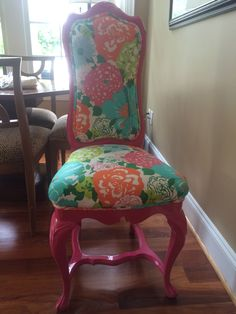 Lilly Pulitzer Chair Designed By @katherineyow #DIY Refurbished/fabric By  Traditions Fine Gifts · Wilmington NcBlog ...