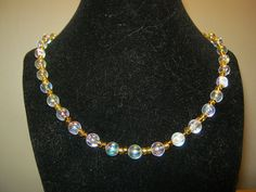 Pearlstyle necklace with gold beads 18 inches by carebear1984, $10.00