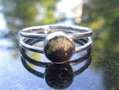 Black Agate Silver Ring Size 7Black and Brown Hammered