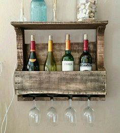Small Reclaimed Wood Wine Rack with Shelf by Del Hutson on Scoutmob Shoppe Better size! Decor, Home Projects, Interior, Diy Furniture, Home Decor, Reclaimed Wood Wine Rack, Pallet Furniture, Wood Wine Racks, Pallet Wine