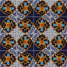 Cajeme Talavera Mexican Tile Close-Up