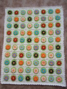 Granny Square Crochet Blanket | eBay