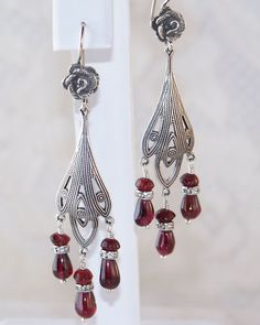 Lady Mary- Downton Abby/ Victorian Inspired Sterling Silver AA+++ Garnet Chandelier Earrings- Jewelry Gift for Her
