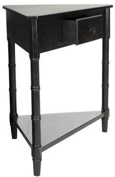 Gomez Corner Table With Storage Drawer Distressed Black