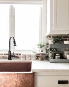Our Adams farmhouse copper sink just shines in Stacey's kitchen.
