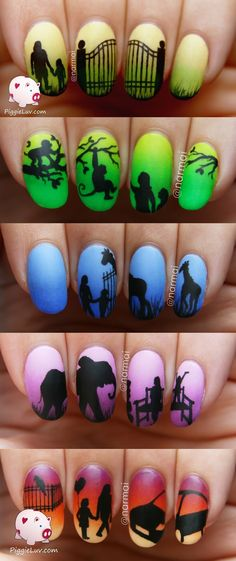 PiggieLuv: Epic day at the zoo nails (5 manis!!!)