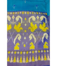 Blue Handloom Pure Ikkat Silk Saree