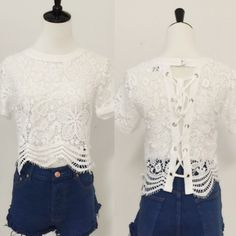 Lace all over short sleeve top. Price firm. Super cute!! Lace all over top, ties down the back and two button closure at neck. This top is so versatile and chic, change it up with different color Cami's/bralettes underneath. April Spirit Tops