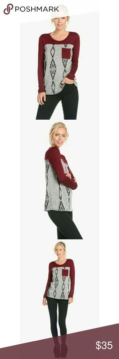 🎄🔥SALE NWT PATTERN PRINT KNIT TOP Pattern Print Pocket Detail Color Block Knit Top BURGUNDY **  100% Made in USA  95% POLYESTER 5% SPANDEX ** angelochekk boutique  Tops Tees - Long Sleeve
