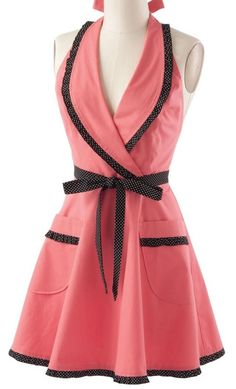 Pots & Dots in Your Kitchen ~ Pink & Black Dot Lapel Retro Apron ... #wishlist #gift #want #products I love