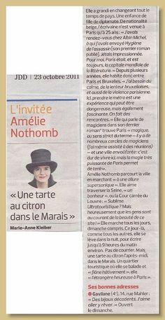 Le JD article  Amelie Nothomb  Les bonnes adresses Gavilane Paris  14 rue malher